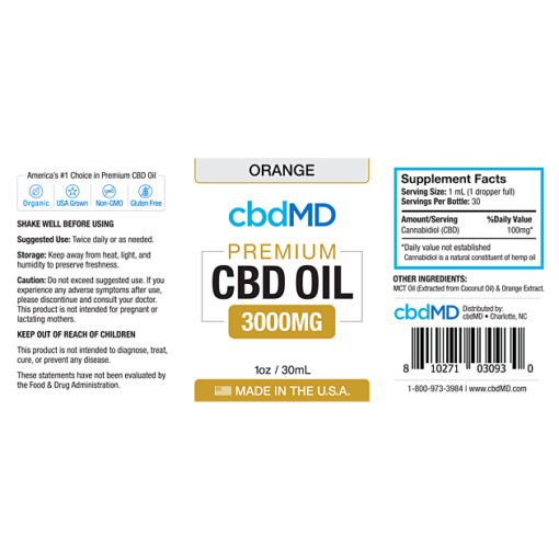 CBD Oil NO THC 3000mg Orange