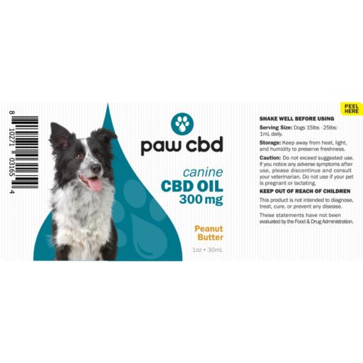 CBD Oil Dogs 300mg - Peanut Butter
