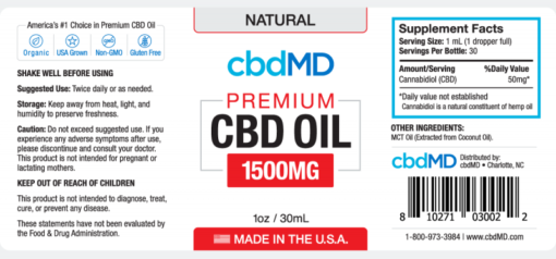 CBD Oil NO THC 1500mg