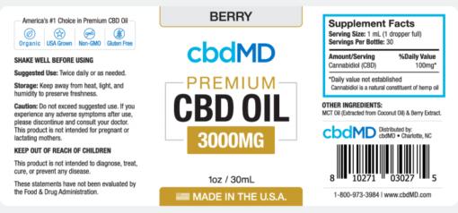 CBD Oil NO THC 3000mg Berry Flavor