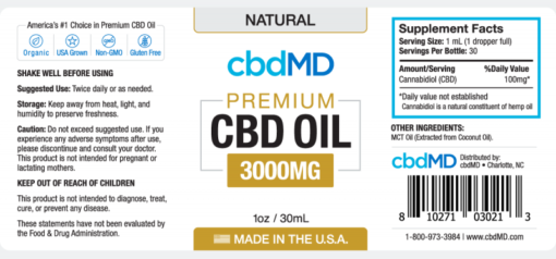 CBD Oil NO THC 3000mg Natural