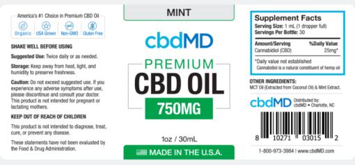CBD Oil NO THC 750mg -Mint