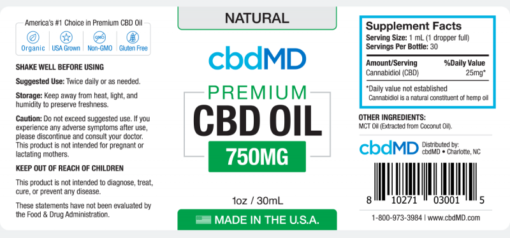 CBD Oil NO THC 750mg