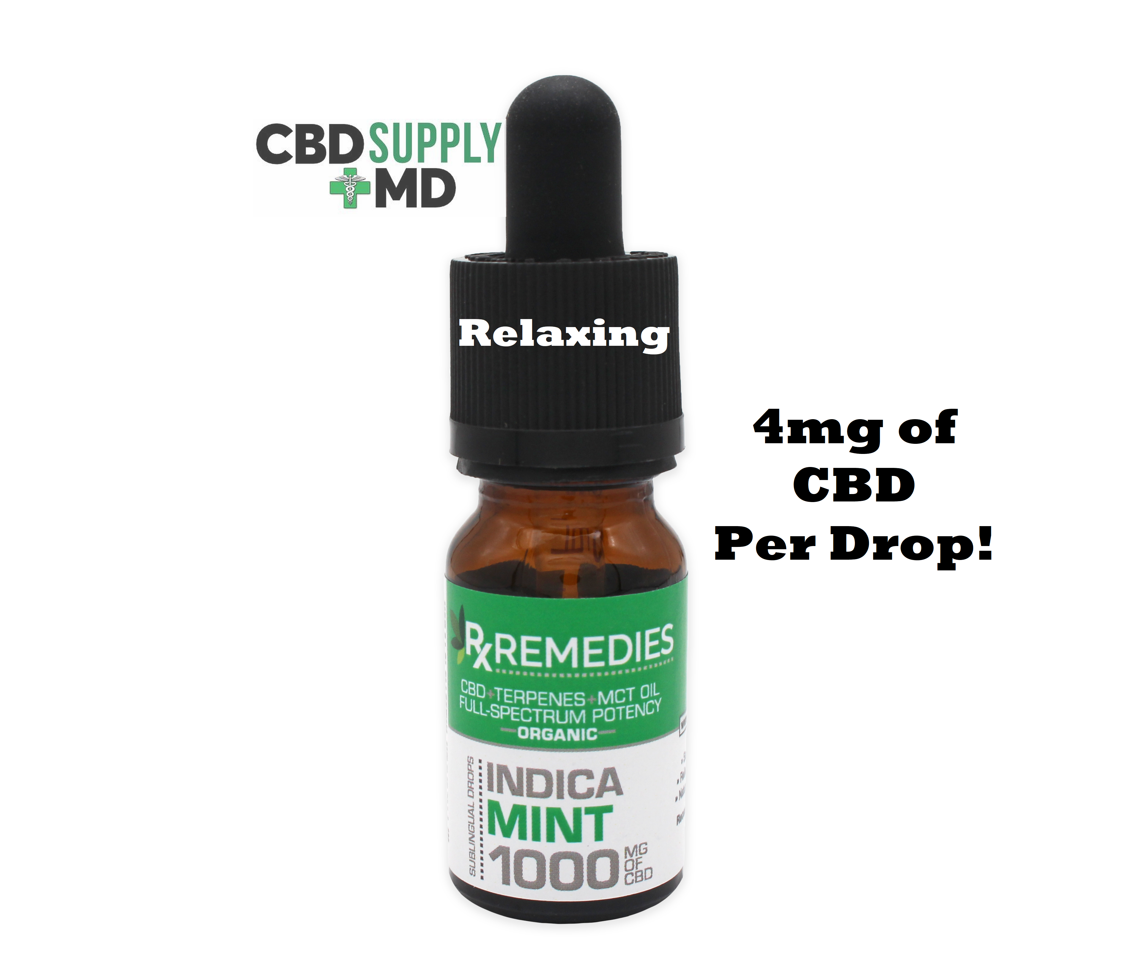 CBD Oil 1000mg Mint Flavor Extra Strength Full Spectrum Indica