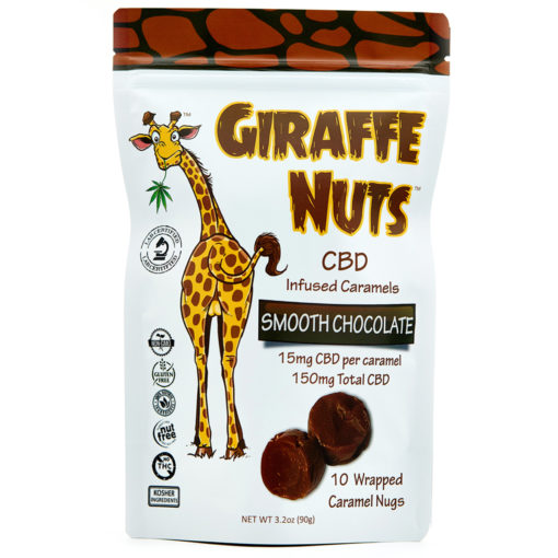 Giraffe Nuts Infused Caramels | Smooth Chocolate Chew | 15mg Hemp CBD per piece - 10 Pieces Per package