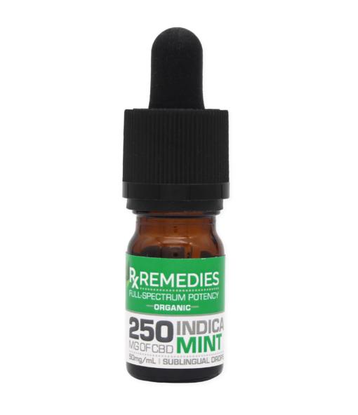 250mg Full Spectrum Sublingual Drops Indica Relaxing Mint Flavor