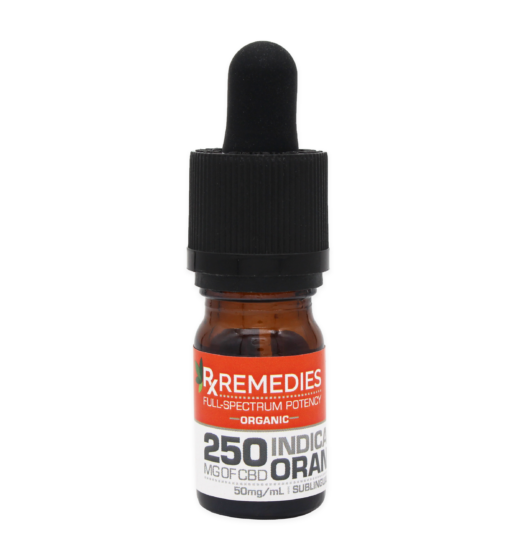 250mg Full Spectrum Sublingual Drops Indica Relaxing Orange Flavor