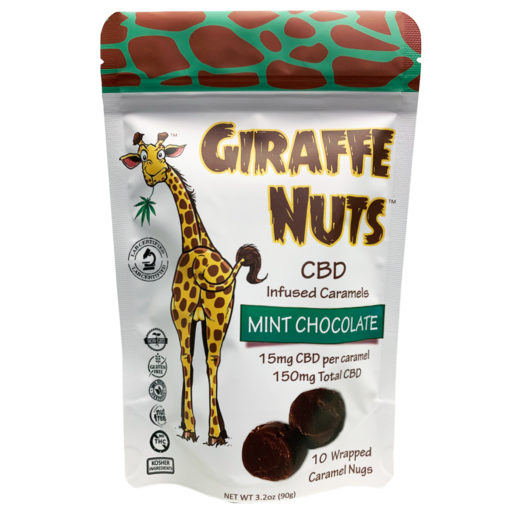 Giraffe Nuts | Mint Chocolate | 15mg Hemp CBD per piece - 10 Pieces Per package