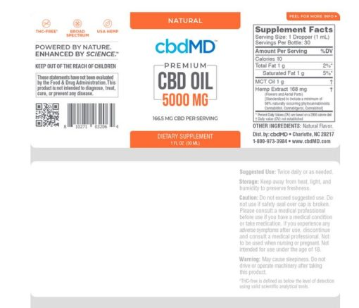 CBD Oil Tincture - Natural - 5000 mg - 30 mL