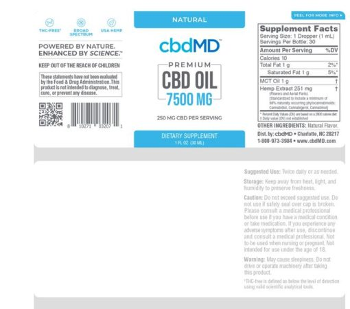 CBD Oil Tincture - Natural - 7500 mg - 30 mL