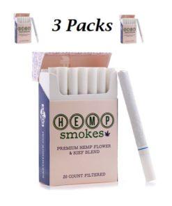 Hemp Cigarettes High CBD Hemp Flower and Kief Blend 3 Packs