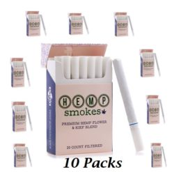 Hemp Cigarettes High CBD Hemp Flower and Kief Blend 10 Packs